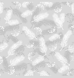 seamless pattern with rowan and fir branches vector image