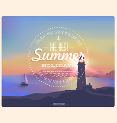 seascape sunset with mountains and lighthouse vector image