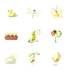 Season spring icons set cartoon style vector