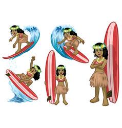 set cartoon beautiful hawaiian surfer girl vector image