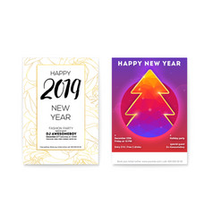 set of holiday posters for happy new year parties vector image