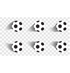 Set of soccer balls football shot goal sport vector
