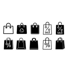 shopping paper bag pack icon set simple style vector image