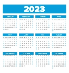 Simple 2023 year calendar vector