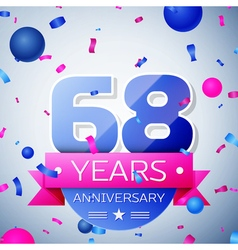 Sixty eight years anniversary celebration on grey vector