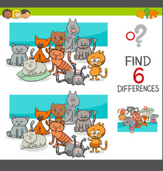 spot the differences with cats or kittens vector image