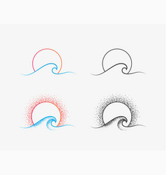 sun and ocean wave logo or icon design in colored vector image