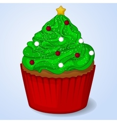Sweet and delicious christmas cupcake for new year vector
