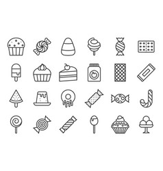 sweets and candy icon set 22 line icon set vector image