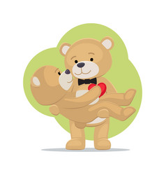 teddy bears couple female in paws of lovely male vector image