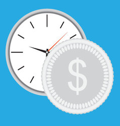 Time is money clock with silver coin vector image