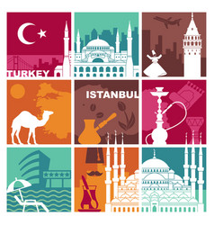 Traditional symbols of turkey and istanbul vector