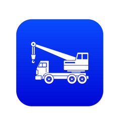 Truck crane icon digital blue vector
