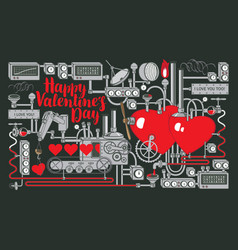 Valentine card or banner with factory love vector