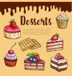 waffle poster with dessert cake pies vector image