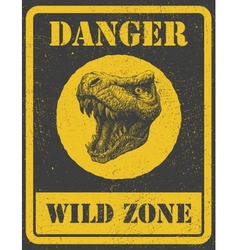 warning sign danger signal with dinosaur eps 8 vector image