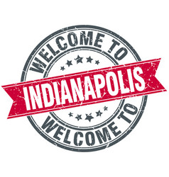 Welcome to indianapolis red round vintage stamp vector