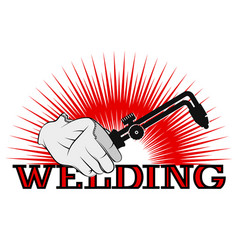 welding machine in hand symbol for business vector image