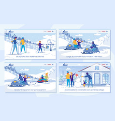 Winter activity in ski resort - services set vector