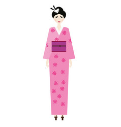 woman in kimono female in traditional japanese vector image