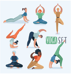 Yoga set with women in different poses vector