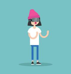 young teenage girl wearing virtual reality vector image