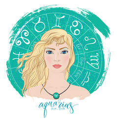 Zodiac signs aquarius in image of beauty girl vector