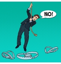 Business man on the rope falls into the trap vector