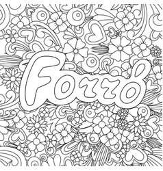 Forro zen tangle doodle background with flowers vector