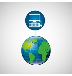 globe world computer connection service vector image