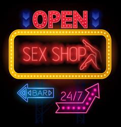 luminous sexshop signs set vector image