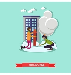 men launching firework in vector image vector image