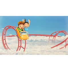 Roller coaster in the clouds background vector image vector image