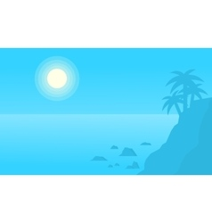 Silhouette of cliff on beach vector image vector image