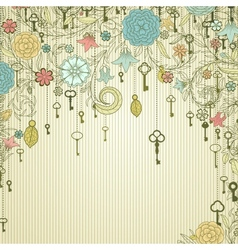 Vintage background with doodle flowers and keys vector image vector image
