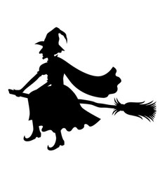 witch on broom silhouette vector image