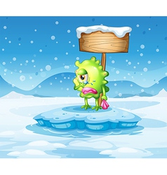 An iceberg with a sad monster under the empty vector image vector image