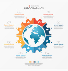 circle chart infographic template with globe 8 vector image vector image