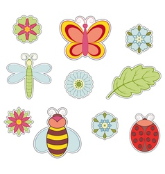 Insect and flower vector image