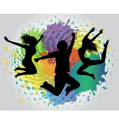 jumping silhouettes against splashes vector image