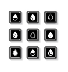set button with drops vector image vector image