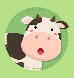 cute cow moo face on green circle vector image vector image