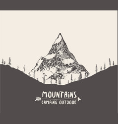 hand drawn mountain landscape pine forest vector image