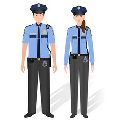 Police officers male and female isolated on white vector