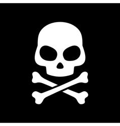 skull on black background vector image