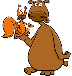bear and squirrel cartoon vector image vector image