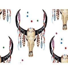 Buffalo Skull and Feather pattern vector image vector image