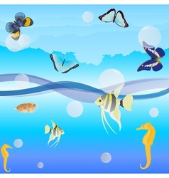 Butterflies and fish vector image vector image
