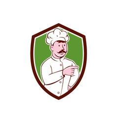 Chef Cook Mustache Pointing Shield Cartoon vector image