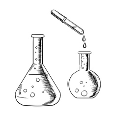 Dropper and laboratory flasks sketch vector image vector image